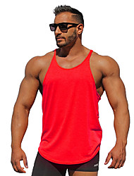 cheap -Men's Tank Top Graphic Solid Colored Basic Sleeveless Daily Tops Active White Black Red