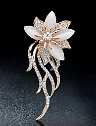 cheap -Women's Brooches Flower Ladies Stylish Elegant Italian everyday Crystal Rhinestone Brooch Jewelry Gold For Party Casual