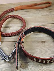 cheap -Cat Dog Horse Collar Leash Training Genuine Leather Black Brown