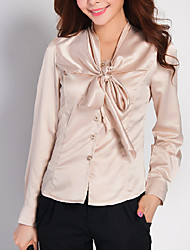 cheap -Women's Daily Work Casual / Street chic Shirt - Solid Colored Bow Shirt Collar Beige / Spring / Fall / Lace up