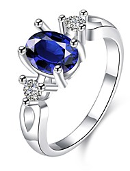 cheap -Women's Ring Cubic Zirconia Blue Zircon Copper Silver Plated Ladies Fashion Daily Casual Jewelry