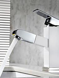 cheap -Contemporary Art Deco/Retro Modern Centerset Pullout Spray Ceramic Valve Single Handle One Hole Painting, Bathroom Sink Faucet