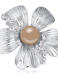 cheap -Women's Crystal / Pearl Brooches - Austria Crystal Cross, Flower Natural Brooch Dark Blue / Gray / Bronze For Daily