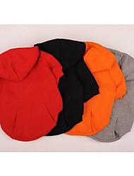 cheap -Dog Coat Fleece Hoodie Winter Dog Clothes Warm Black Orange Red Costume Fleece Down Cotton Color Block Casual / Daily Sports XXS XS S M