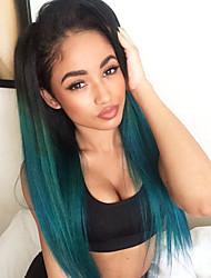 Недорогие -Синтетические кружевные передние парики Прямой Прямой силуэт Лента спереди Парик Зеленый Искусственные волосы Жен. Волосы с окрашиванием омбре Темные корни Природные волосы Зеленый