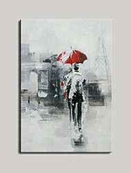 cheap -Hand Painted Oil Paintings Modern Abstract Figure with Red Umbrella for Wall Decoration Unformed Figure Painting on Canvas Ready Made Frame
