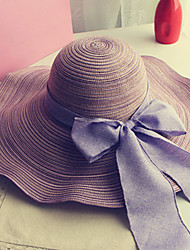cheap -Women's Holiday Outdoor Straw Straw Hat Sun Hat-Solid Colored Bow Summer Navy Blue Purple Fuchsia