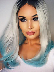 cheap -Synthetic Lace Front Wig Straight Straight Bob Lace Front Wig Blue Synthetic Hair Women's Middle Part Bob Natural Hairline Blue
