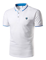 cheap -Men's Daily Sports Cotton Polo - Solid Colored Shirt Collar Navy Blue / Short Sleeve / Summer