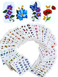 cheap -1set 55pcs mixed nail art sticker water transfer decals beautiful flower design diy nail art beauty bjc55