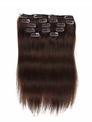 cheap -7 pcs set clip in hair extensions medium brown 14inch 18inch 100 human hair for women