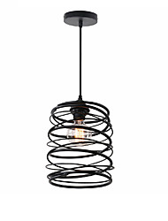 cheap -1-Light Vintage Loft Black Metal Spiral Shade Pendant Light Kitchen Cafe Hallway Bar Decoration Lighting Painted Finish