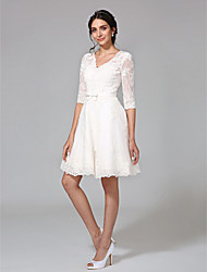 cheap -A-Line V Neck Knee Length All Over Lace 3/4 Length Sleeve Casual Little White Dress Made-To-Measure Wedding Dresses with Bowknot / Bow(s) / Buttons 2020 / Illusion Sleeve