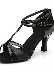 cheap -Women's Latin Shoes Ballroom Shoes Salsa Shoes Line Dance Heel Buckle Black Gold Silver Buckle