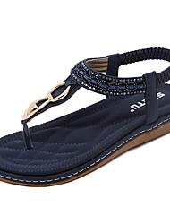 cheap -Women's Sandals Wedge Heel Round Toe Rhinestone / Buckle / Gore PU(Polyurethane) Comfort / Light Soles Walking Shoes Spring / Summer / Fall Blue / Pink / Almond
