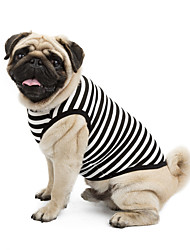 cheap -Cat Dog Shirt / T-Shirt Sweatshirt Dog Clothes Black Orange Yellow Costume Cotton Stripes Classic Holiday Casual / Daily XS S M L