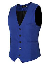 cheap -Men's Vest Regular Solid Colored Daily Work Spring Summer Long Sleeve Black / Purple / Red M / L / XL / Fall / Slim
