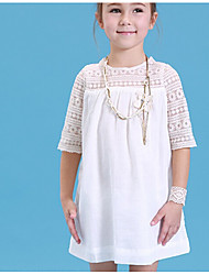 cheap -Kids Girls' Solid Colored Half Sleeve Dress White