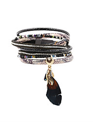 cheap -Leather Bracelet Heart Bohemian Fashion Leather Bracelet Jewelry Black For Christmas Gifts Wedding Party Special Occasion Halloween Anniversary / Feather / Rhinestone