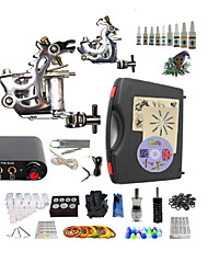 cheap -BaseKey Tattoo Machine Starter Kit, 2 pcs Tattoo Machines with 10 x 5 ml tattoo inks - 2 steel machine liner & shader Professional