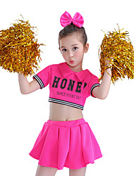 cheap -Cheerleader Costumes / Dance Costumes Outfits Performance Cotton Splicing Short Sleeves High Top / Skirt