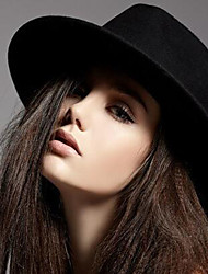 cheap -Women's Fedora Hat Wool Cotton Blend Vicose Vintage - Solid Colored Black Wine Navy Blue