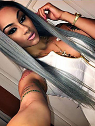 cheap -Synthetic Lace Front Wig Straight Synthetic Hair Natural Hairline Gray Wig Women's Long Lace Front