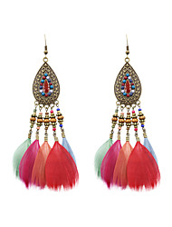 cheap -Women's Drop Earrings Ladies Stylish Native American Feather Earrings Jewelry Black / Coffee / Rainbow For Wedding Party Special Occasion Party / Evening Daily Casual 1 set
