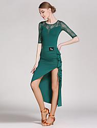 cheap -Latin Dance Outfits Women's Training Lace / Viscose Draping / Splicing Half Sleeve Natural Leotard / Onesie / Skirt