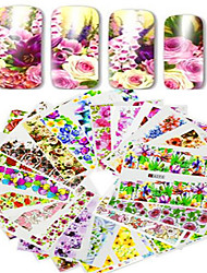 cheap -1set 48pcs mixed full cover wrap nail art watermark sticker beautiful flower image design water transfer decals nail set decoration a49 96