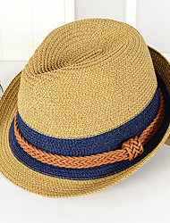 cheap -Unisex Holiday Straw Bucket Hat Straw Hat Sun Hat-Color Block Summer Brown Navy Blue Khaki