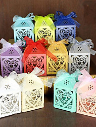 cheap -Round / Square Pearl Paper Favor Holder with Ribbons / Printing Favor Boxes / Gift Boxes - 100