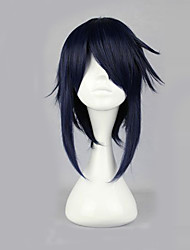 cheap -K Reishi Munakata Cosplay Wigs Men's 16 inch Heat Resistant Fiber Ink Blue Anime