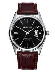 cheap -Men's Fashion Watch Dress Watch Quartz Leather Band Material Black / Brown Calendar / date / day Analog Casual - Black Coffee