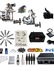 cheap -BaseKey Professional Tattoo Kit Tattoo Machine - 2 pcs Tattoo Machines, Professional Alloy 20 W LCD power supply 2 steel machine liner & shader / Case Included