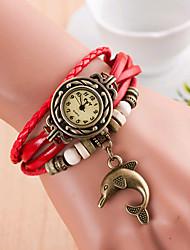cheap -Women's Bracelet Watch Quartz Leather Black / White / Blue Analog Orange red Red Blue