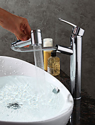 cheap -Contemporary Modern Centerset Pullout Spray Ceramic Valve Single Handle One Hole Chrome, Bathroom Sink Faucet