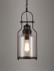cheap -1-Light Loft Vintage Glass Pendant Lights Black Metal Dining Room Pendant Lights Bar Clothing Store Light Fixture