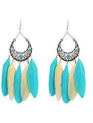 cheap -Drop Earrings Feather Earrings Jewelry Blue / Royal Blue For Wedding Party Halloween Daily Casual Sports