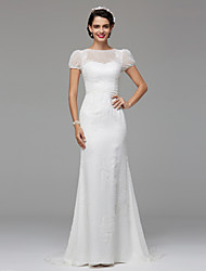 cheap -Mermaid / Trumpet Jewel Neck Sweep / Brush Train Lace Over Tulle Short Sleeve Made-To-Measure Wedding Dresses with Draping / Lace 2020 / Illusion Sleeve