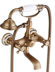 cheap -Bathtub Faucet - Antique / Traditional Antique Copper Centerset Ceramic Valve Bath Shower Mixer Taps / Two Handles Two Holes
