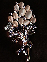cheap -Women's Brooches Flower Ladies Rhinestone Opal Brooch Jewelry Gold For Party Casual