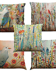 cheap -5 pcs Linen Natural / Organic Pillow Cover Pillow Case, Solid Colored Floral Plaid Casual Retro Traditional / Classic