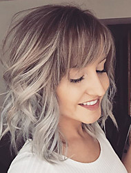 cheap -Human Hair Capless Wigs Human Hair Natural Wave Bob / Short Hairstyles 2019 / With Bangs Halle Berry Hairstyles Ombre Hair / Dark Roots / Side Part Short Machine Made Wig Women's