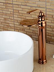 cheap -Bathroom Sink Faucet - Waterfall Rose Gold Centerset Single Handle One HoleBath Taps / Brass