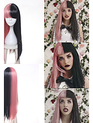 cheap -Synthetic Wig Cosplay Wig Straight Kardashian Straight With Bangs Wig Long Pink Synthetic Hair Women's Braided Wig African Braids Black
