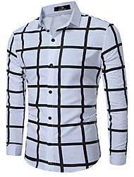 cheap -Men's Plus Size Color Block Plaid Shirt Daily Work Wine / White / Black / Navy Blue / Spring / Fall / Long Sleeve
