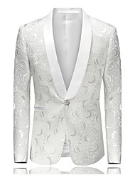 cheap -Men's Party / Daily / Going out Street chic / Sophisticated Spring / Fall / Winter Plus Size Regular Blazer, Floral V Neck Long Sleeve Cotton / Polyester Jacquard White / Slim