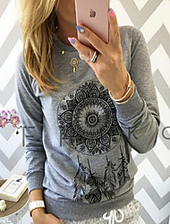 cheap -Women's Daily Street chic Plus Size Butterfly Sleeves Cotton T-shirt - Tribal Print White / Spring / Fall