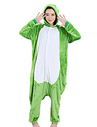 cheap -Adults' Kigurumi Pajamas Frog Onesie Pajamas Velvet Mink Green Cosplay For Men and Women Animal Sleepwear Cartoon Festival / Holiday Costumes